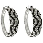 Diamond 0.02 CT.T.W. Round-Cut Accent Black and White Wave Design Prong Set Hoop Earrings Silver Plated