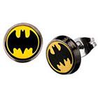 DC Comics DC Comics Batman Logo Stainless Steel Round Stud Earrings - Black/Yellow