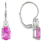 Allura Created Pink and White Sapphire Lever Back Earrings in Sterling Silver