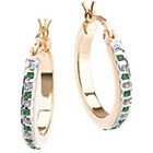 Diamond 18K Gold over Sterling Silver & Emerald Accent Yellow Bold Round Hoop Earrings