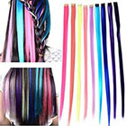 Amazon Remylady 9Colors 22'' Korea Synthetic Fiber Rainbow Colorful Clip On In Hair Extensions Stytlish Eye-watching DIY