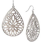 Target Large Cut Through Teardrop Earrings - Oxidized Silver