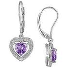 Allura 1.6 CT. T.W. Amethyst and .005 CT. T.W. Diamond Heart Shaped Leverback Earrings in Sterling Silver