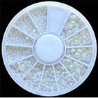 Amazon EverGoods White Pearl Nail Art Stone Different Size Wheel Rhinestones Beads