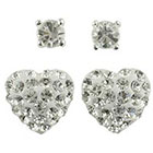 Target Round Post and Crystal Heart Fireball Earrings Set of 2 - Silver