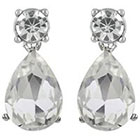 Target Round and Teardrop Crystal Post Earrings - Silver