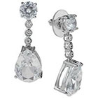 Tevolio Cubic Zirconia Round and Pear Drop Earrings - Silver