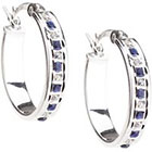 Diamond Platinum Over Sterling Silver & Sapphire Accent Oval Hoop Earrings - White