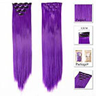 Amazon Neitsi 10pcs 18inch Colored Highlight Synthetic Clip on in Hair Extensions #F10 Purple