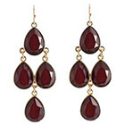 Target Drop Earrings with Stones - Gold/Red