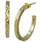 Diamond Cut Half Hoop Earring - Fusion Gold