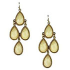 Target Drop Earrings with Stones-- Gold/Cream