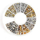 Amazon Genertic 500Pcs 1.2mm/2mm/3mm Mini Gold And Silver Round Stud Rhinestone Nail Art Decoration w/box