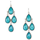 Target Drop Earrings with Stones - Silver and Blue