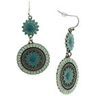 Target Dangle Floral Casting Earrings with Epoxy Fill - Silver/Turquoise
