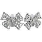 Kenneth Jay LaneTM Button Clip Bow with Crystal - Silver