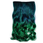 Amazon Stepupgirl 24 Inch Dark Blue to Grass Ombre Color Curly Full Head Synthetic Clip in Hair Extension with Souvenir Card