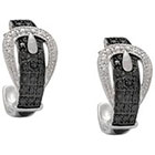 Diamond Silver Overlay Accent Black and White Buckle Hoop Earrings