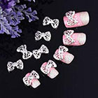 350Buy 10x Silver 3D Carve Alloy Rhinestones Bow Tie Nail Art DIY Decorations in
