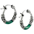 Tressa Collection Hoop Earrings in Sterling Silver - Green/Silver
