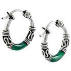 Tressa Collection Hoop Earrings in Sterling Silver - Green/Silver