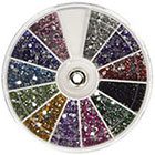 360Buy Rhinestones 2400 Piece 12 Color Nail Art Nailart Manicure Wheels in