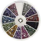 360Buy Rhinestones 2400 Piece 12 Color Nail Art Nailart Manicure Wheels in