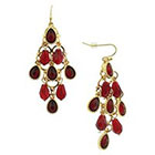 Target Chandelier Earring with Teardrop Stones - Red