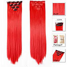 Amazon Neitsi 10pcs 18inch Colored Highlight Synthetic Clip on in Hair Extensions #F19 Red