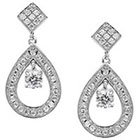 Journee Collection 1 3/8 CT. T.W. Round Cut CZ Basket Set Dangle Earrings in Brass - Silver