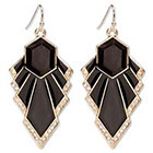 Natasha Accessories Imitation Gold Fashion Earring Stones - Black (2.5