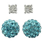 Target Round Post and Fireball Crystal Earrings Set of 2 - Blue