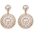 Natasha Accessories Imitation Gold Fashion Earring Stones - White (3