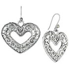 Target Drop Earrings with Heart Scroll Textured - Silver
