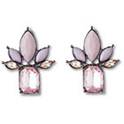 Target S Statement Earrings - Hematite/Pink
