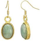 Target Oval Jade Earrings - Gold