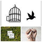 Tattify Bird in a Cage - temporary tattoo (Set of 2)
