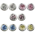 Target Round Bezel Post Stud Earrings Set of 5 - Silver/Multicolor