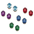 Target Set of 5 Crystal Stud Earrings in Sterling Silver - Multicolor
