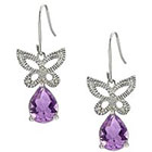 Diamond and Amethyst Accent Butterfly Earrings in Sterling Silver (IJ-I2-I3)