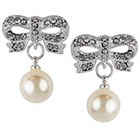 Target Crystal Bow with Pearl Round Drop Dangle Earring - Silver