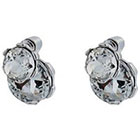 Target Stud Front Back Earrings with Stones - Silver/Clear