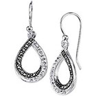 Target Silver Plated Marcasite and Crystal Teardrop Twist Earring - Silver (1.0