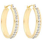 Diamond Round Sterling Silver Earrings with Pave Accents - Yellow