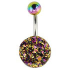 Supreme Jewelry Curved Barbell Belly Ring with Stones in Multicolor