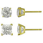 Target Duo Round and Square Stud Earrings Set - Gold