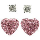 Target Pink Round Post and Crystal Heart Fireball Earrings Set of 2