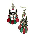 Target Dangle Earring with Acrylic Stone and Shell Teardrops - Gold/Turquoise