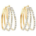 Diamond Flare Sterling Silver Earrings with Accents - Yellow