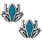 Tressa Collection Frog Stud Earrings with Turquoise Stone in Sterling Silver - Turquoise
